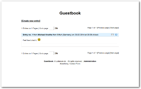 PHP guestbook script appea