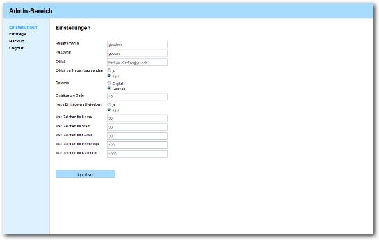 PHP Gästebuch Skript Admin
