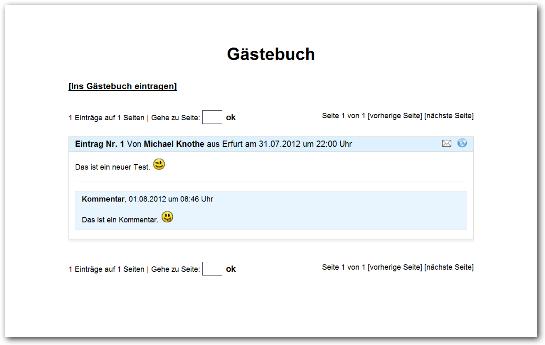 PHP Gästebuch Skript Ansicht